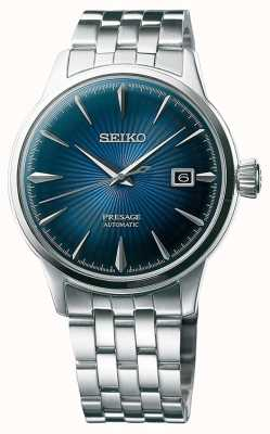 Seiko Vooraf ingestelde automatische roestvrijstalen armband blauwe wijzerplaat SRPB41J1