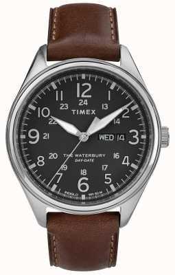 Timex Zwart-bruine traditionele de dagdatum van Waterbury van mensen TW2R89000