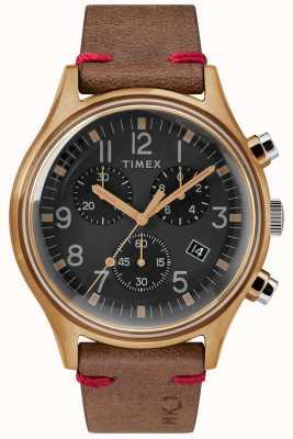 Timex Heren mk1 sst chrono 42mm bronzen kast zwarte wijzerplaat bruine riem TW2R96300