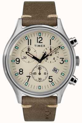 Timex Heren mk1 sst chrono 42mm bruine lederen horlogeband TW2R96400