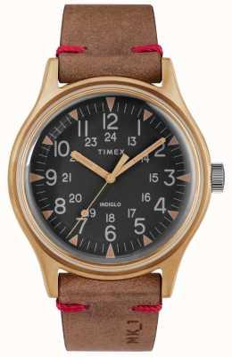 Timex Heren mk1 sst chrono 40mm bronzen kast zwarte wijzerplaat bruine riem TW2R96700