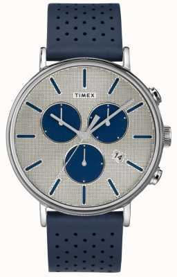 Timex Heren fairfield chrono supernova blauwe band zilveren wijzerplaat TW2R97700