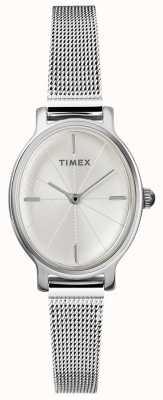 Timex Horloge dames milano ovaal zilver gaas TW2R94200D7PF