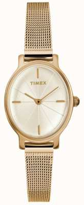 Timex Dames milano ovaal gouden meshhorloge TW2R94400D7PF