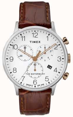 Timex Waterbury classic chronograph watch witte wijzerplaat heren TW2R72100D7PF