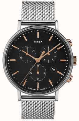 Timex Fairfield chronograaf zilver mesh horloge zwarte wijzerplaat TW2T11400D7PF