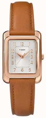 Timex Bruine leren damesriem met zilverkleurige wijzerplaat TW2R89500D7PF