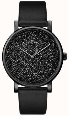 Timex Zwart lederen dameshorloge met swarovski-kristallen TW2R95100D7PF