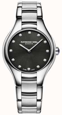 Raymond Weil Zwarte wijzerplaat met zwarte diamant voor dames 5132-ST-20081