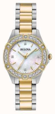 Bulova Dames tweekleurig diamanthorloge 98R236