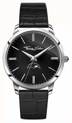 Thomas Sabo Mens rebel in hart en ziel moonphase horloge zwart leer WA0325-218-203-42