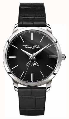 Thomas Sabo Mens rebel in hart en ziel moonphase horloge zwart leer WA0325-218-203-42