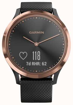Garmin Vivomove hr activity tracker zwart rubber roségouden kast 010-01850-06