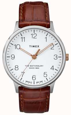 Timex Heren de waterbury klassieke witte wijzerplaat met rosé gouden wijzers TW2R95900