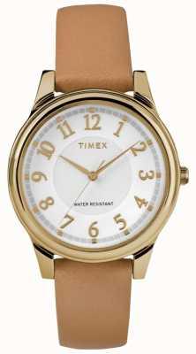 Timex Klassieke leren damesriem van damestijl met gouden wijzerplaat TW2R87000