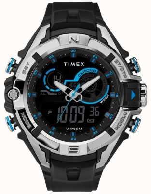 Timex Heren 47mm zwarte kast chroom ring zwarte riem TW5M23000
