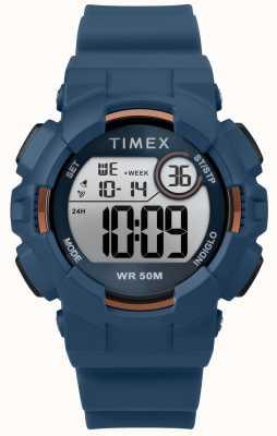 Timex Blauw lederen band van 44 mm, blauw TW5M23500