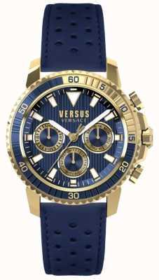 Versus Versace Blauwe leren wijzerplaat in aberdeen blauw leer S30020017
