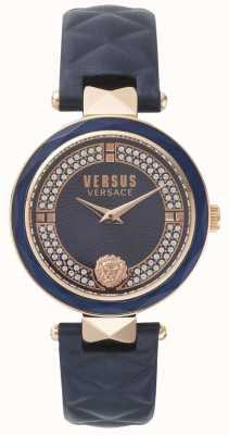 Versus Versace Covent dames blauw lederen band blauwe stenen set wijzerplaat SPCD280017