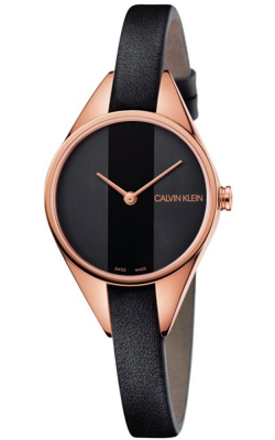 Calvin Klein Womens rebel horloge zwart lederen band met rosé gouden toon K8P236C1