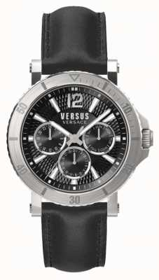 Versus Versace Heren steen zwarte wijzerplaat zwarte lederen band SP52020018