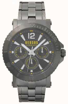 Versus Versace Heren steen grijze wijzerplaat grijze roestvrij stalen armband SP52050018
