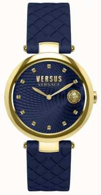 Versus Versace Blauwe wijzerplaat blauwe lederen band in blauwe buffelband SP87030018