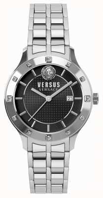 Versus Versace Womens brackenfell zwarte wijzerplaat roestvrij stalen armband SP46010018