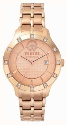 Versus Versace Womens brackenfell rose gouden wijzerplaat rose goud pvd armband SP46040018