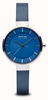 Bering Dameszon, zonneknop, zilveren kast, blauwe netriem 14631-307