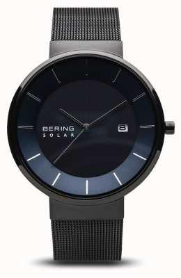 Bering Herenhorloge voor zonne-energie, blauw gezicht, zwarte netriem 14639-227