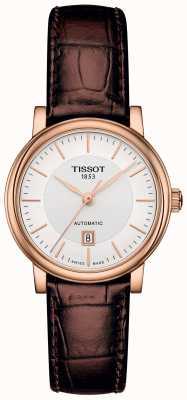 Tissot Damesauto'sop automatisch bruin lederen band rosegoud verguld T1222073603100