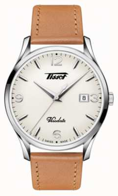 Tissot Mens visodate erfgoed quartz beige wijzerplaat tan lederen band T1184101627700