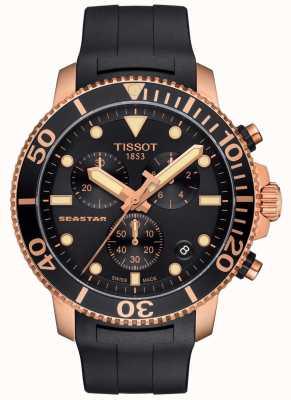 Tissot Heren seastar 1000 quartz chronograaf zwart / goud / rubberen band T1204173705100