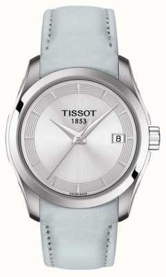 Tissot Womens couturier lichtblauwe band zilveren wijzerplaat T0352101603102