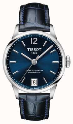 Tissot Blauwe lederen wijzerplaat van Chemin des Tourelles T0992071604700