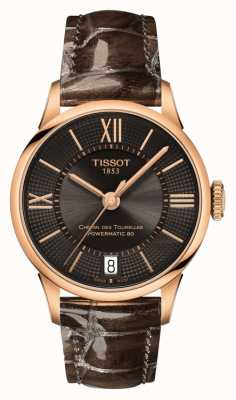 Tissot Dames chemin des tourelles bruin lederen band zwarte wijzerplaat T0992073644800