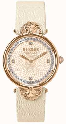 Versus Versace Rose victoria harbor cream lederen band dames wijzerplaat VSP33130018