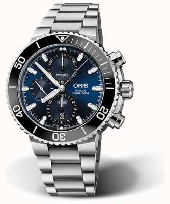 ORIS Aquis datum chronograaf blauwe wijzerplaat roestvrij staal 01 774 7743 4155-07 8 24 05 PEB