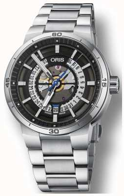 Oris Williams tt1 motor date roestvrij stalen armband skelet 01 733 7752 4124-07 8 24 08