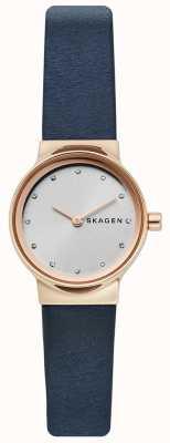 Skagen Dames freja horloge, blauwe lederen band, zilveren wijzerplaat SKW2744