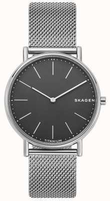 Skagen Heren kenmerkende roestvrij stalen gaas armband zwarte wijzerplaat SKW6483