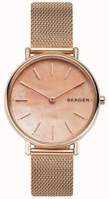 Skagen Dames signatuur rosé gouden edelstalen armband roze wijzerplaat SKW2732