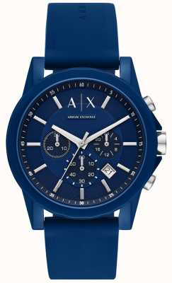 Armani Exchange Geschenkset heren sporthorloge   blauwe siliconen band   AX7107