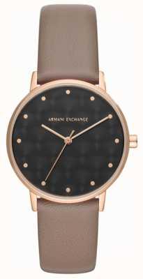 Armani Exchange Armani verwissel dameshorloge bruin lederen band AX5553