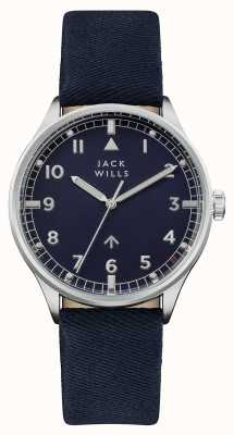 Jack Wills Heren camperdown navy wijzerplaat navy lederen band JW001BLSS