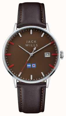 Jack Wills Heren batson bruine wijzerplaat bruine lederen band JW002BRBR
