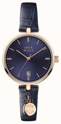 Jack Wills Dames bennett blauwe wijzerplaat blauwe leren riem JW005BLRG