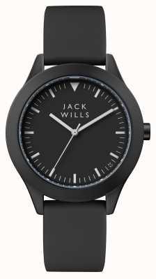 Jack Wills Heren unie zwarte wijzerplaat zwarte siliconen band JW009BKBK