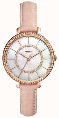 Fossil Dames beige lederen band roestvrij staal parelmoer ES4455